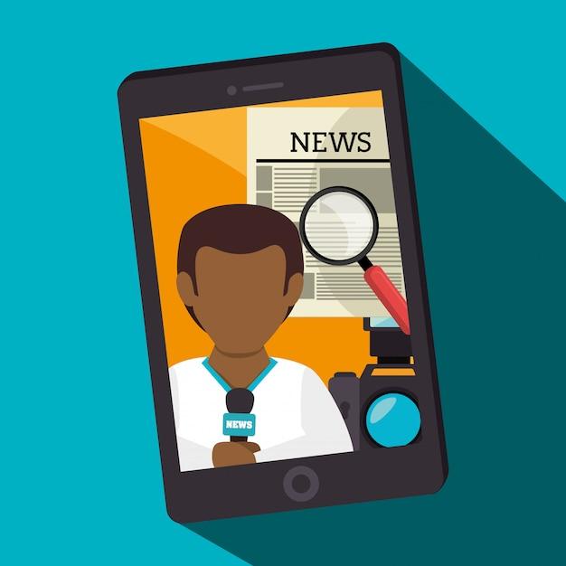 Noticias de los medios de comunicación en el móvil vector gratuito