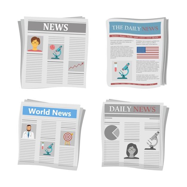 Noticias en papel, noticias periodísticas. Vector Premium
