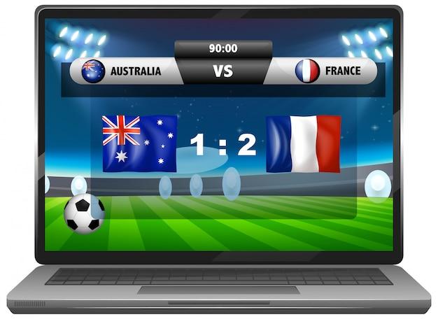 Noticias del partido de fútbol en la pantalla del portátil aislado vector gratuito