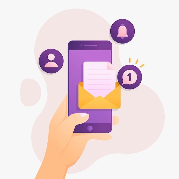 Notificación de un nuevo mensaje en concepto de diseño de teléfono inteligente Vector Premium