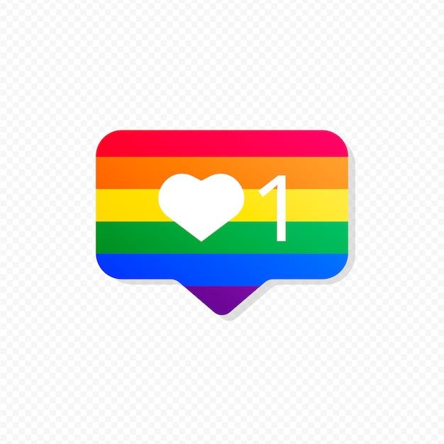 Notificación de redes sociales con bandera de orgullo vector gratuito