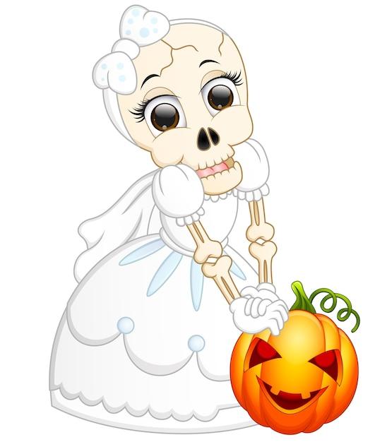 Novia de cráneo con dibujos animados de calabaza   Descargar ...