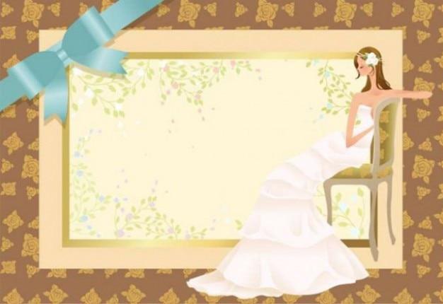 Novia en fondo de la invitación de la boda   Descargar Vectores gratis