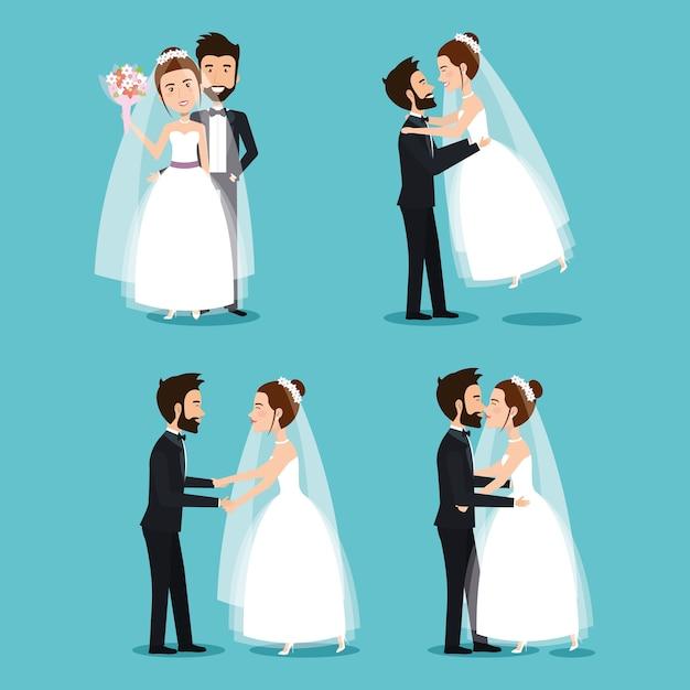 8b152ac49 La novia y el novio establecen parejas de bodas románticas ...
