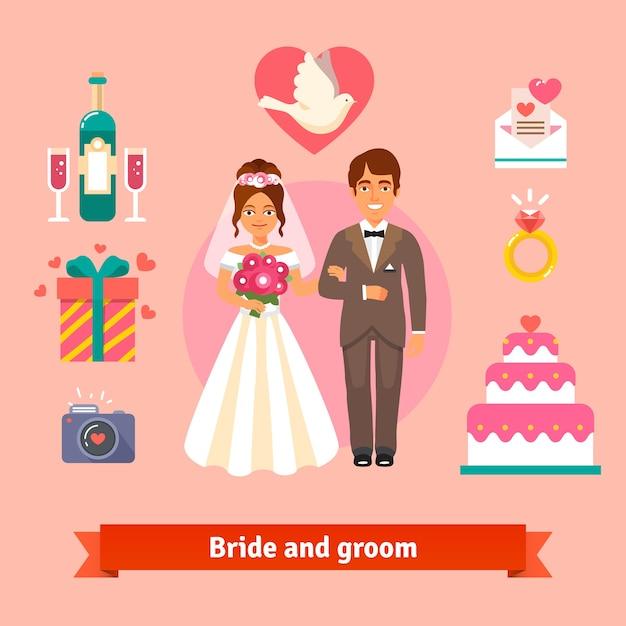 Novia y el novio con la boda conjunto de iconos | Descargar Vectores ...