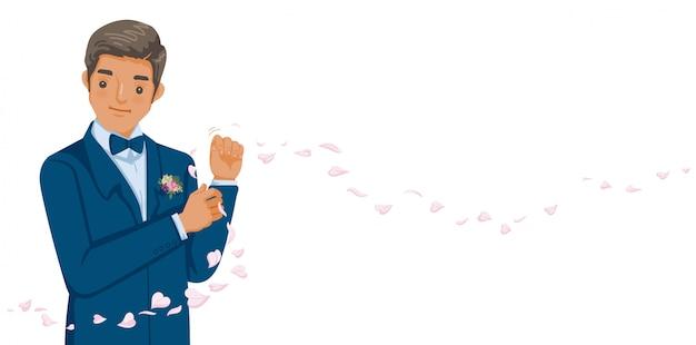 Novio en esmoquin azul y corbatín rojo corrige sus botones. Vector Premium