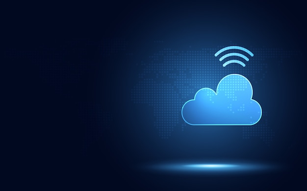 Nube azul futurista con tecnología de transformación digital de señal digital inalámbrica Vector Premium