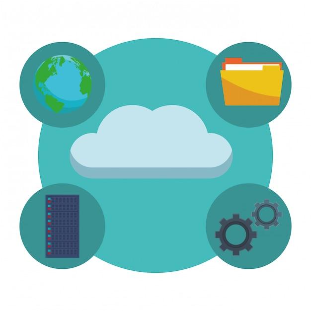 Nube con engranajes Vector Premium