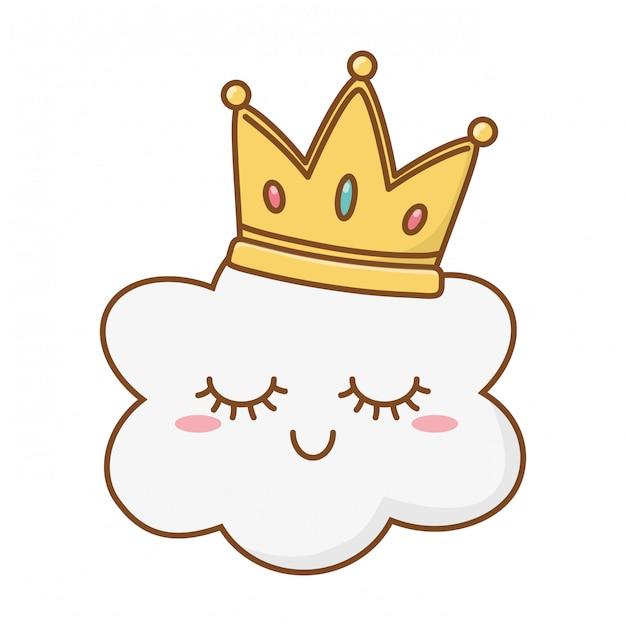 Nube sonriente con corona Vector Premium