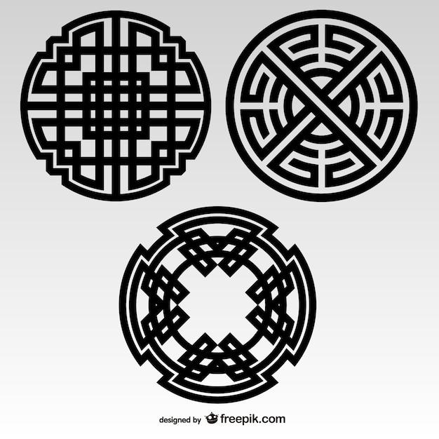 Nudos célticos elementos tribales vector gratuito