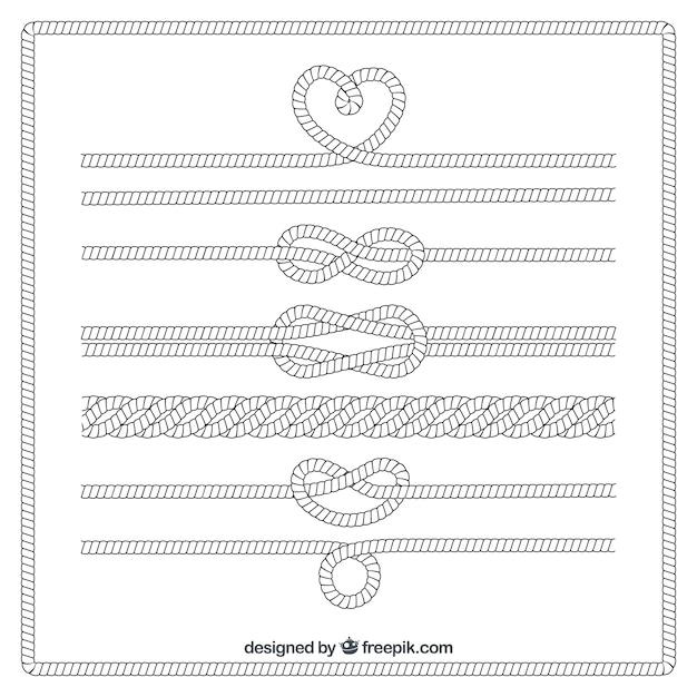 Nudos de cuerda Vector Premium
