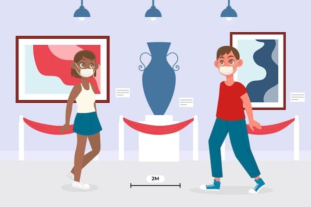 Nueva normalidad en museos vector gratuito