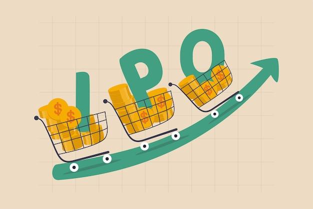 Nueva oferta pública inicial de acciones, empresa de oferta pública inicial que cotiza en bolsa para cotizar en el concepto de mercado bursátil Vector Premium