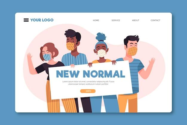 Nueva plantilla de página de destino normal ilustrada vector gratuito