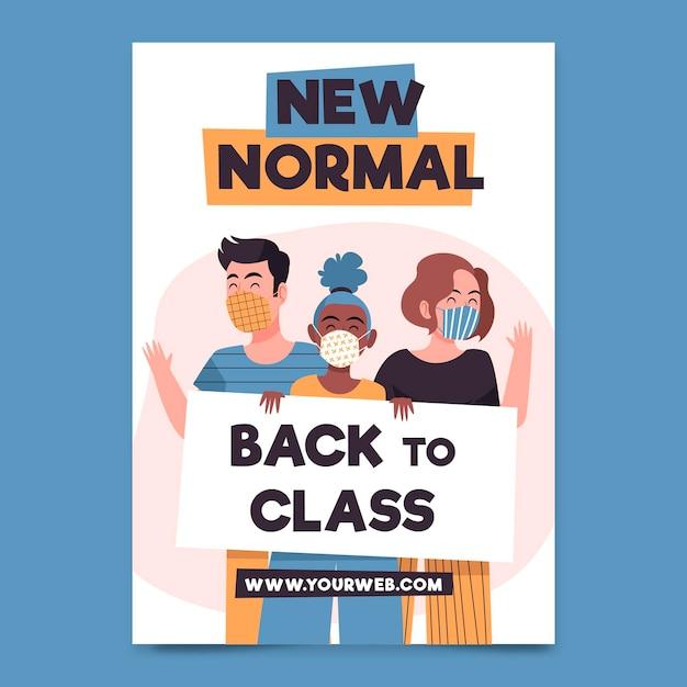 Nueva plantilla de póster normal ilustrada vector gratuito