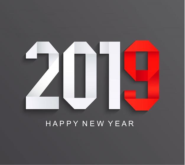 Nueva tarjeta de papel de felicitación de 2019 años. Vector Premium