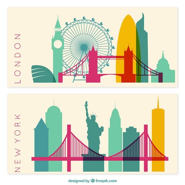 Nueva york y londres banners vector gratuito