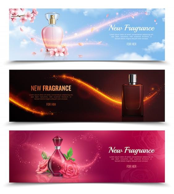 Nuevas banderas de fragancia de cosméticos horizontales con frascos de perfume y efecto de brillos mágicos voladores realistas vector gratuito