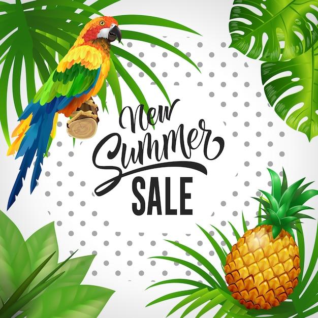 Nuevas letras de venta de verano. fondo de zonas tropicales con hojas, loro y piña. vector gratuito
