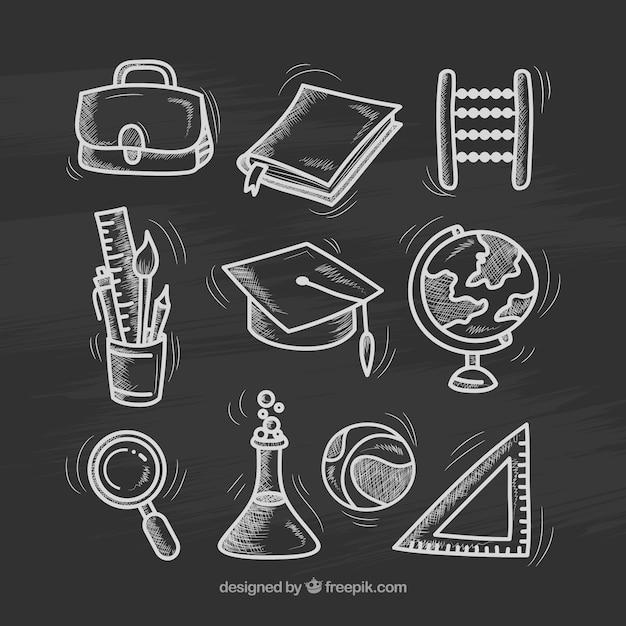 Nueve diferentes elementos de colegio en estilo de pizarra Vector Gratis