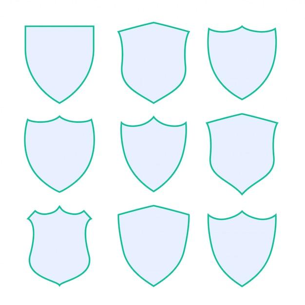 Nueve escudos de protección con borde verde vector gratuito