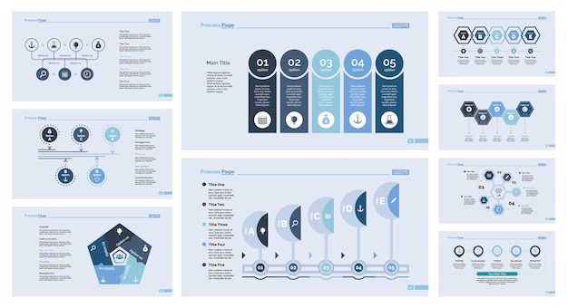 Nueve plantillas de diapositivas de gestión establecidas Vector Gratis