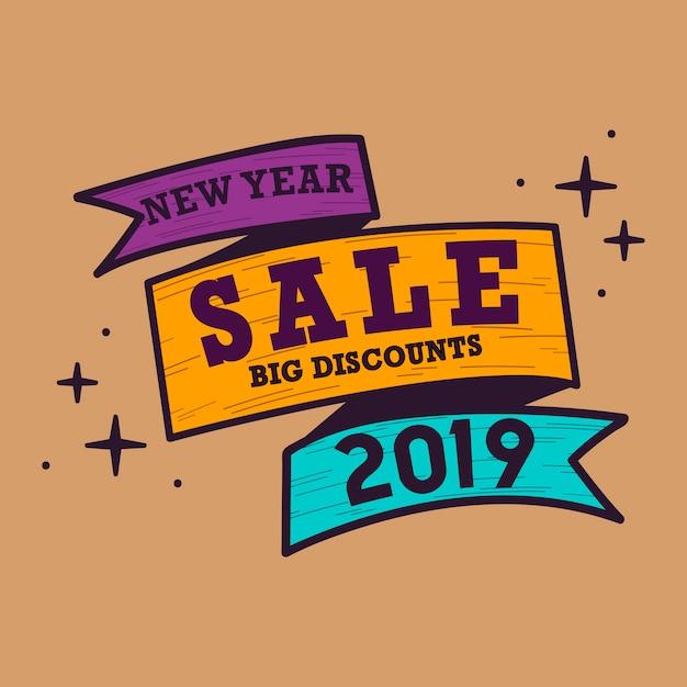 Nuevo año 2019 venta emblema vector vector gratuito