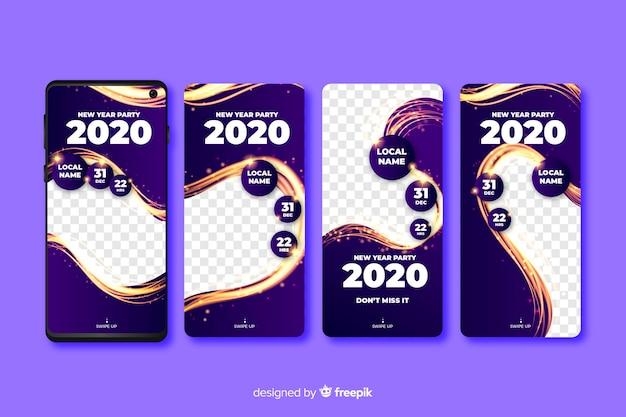 Nuevo año 2020 colección de historias de instagram vector gratuito