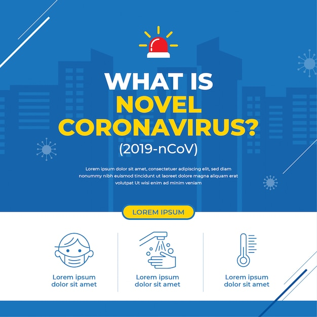Nuevo banner de campaña de coronavirus Vector Premium