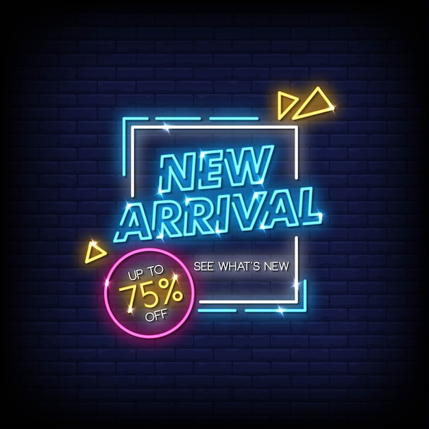 Nuevo cartel de neón de llegada Vector Premium