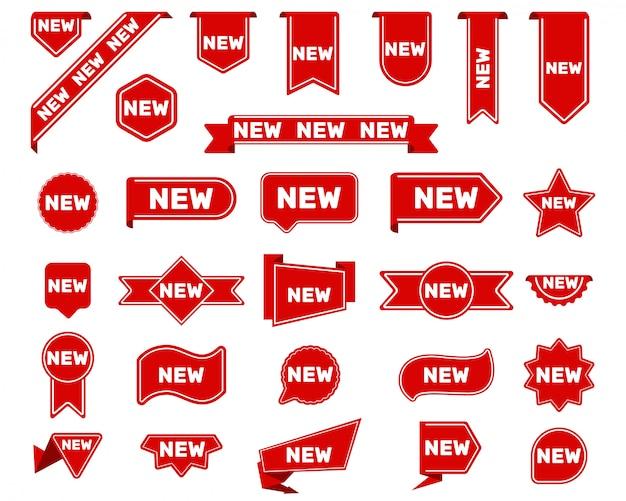Nuevo conjunto de etiquetas y pegatinas de llegada vector gratuito