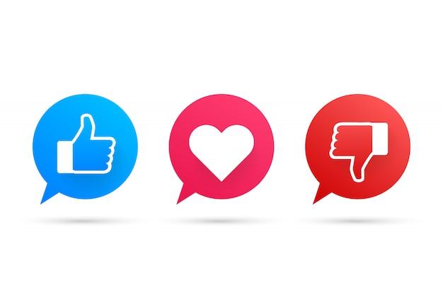 Nuevo me gusta y adora y disgusta los iconos. impreso en papel. medios de comunicación social. vector stock de ilustración. Vector Premium