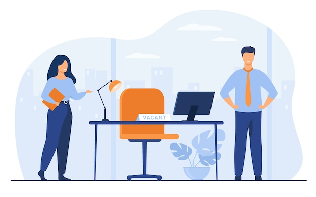 Nuevos empleados que requieren en la oficina para trabajar ilustración vectorial plana aislada. gerente de recursos humanos de dibujos animados contratando o reclutando personal. concepto de contratación, vacantes y negocios vector gratuito