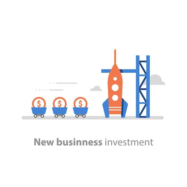 Nuevos negocios, concepto de puesta en marcha, atraer dinero, recaudación de fondos, lanzamiento de cohetes, capital de riesgo Vector Premium