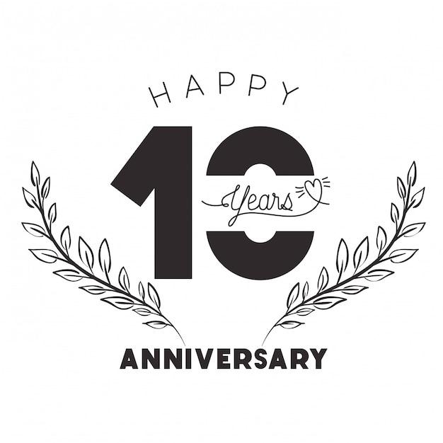 Número 10 para emblema o insignia de celebración de aniversario Vector Premium