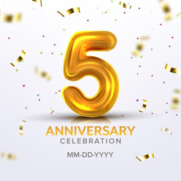 Número de celebración de nacimiento del quinto aniversario Vector Premium