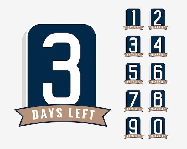 Número de días que faltan símbolos vector gratuito
