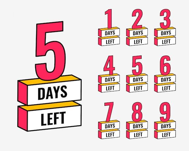 Número de días que quedan el banner de cuenta regresiva vector gratuito