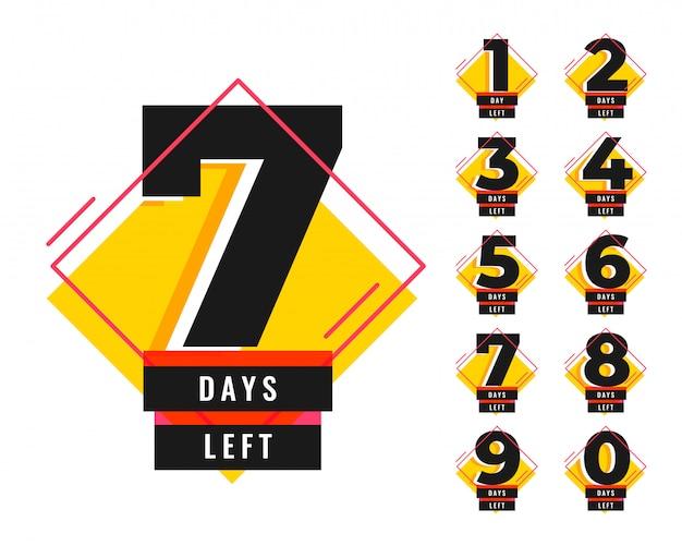 Número de días restantes de banner de plantilla promocional vector gratuito