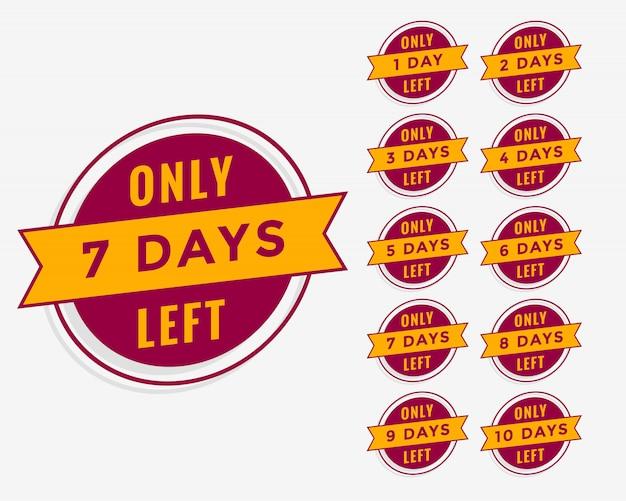 Número de días restantes de cuenta regresiva para venta o banner de promoción vector gratuito