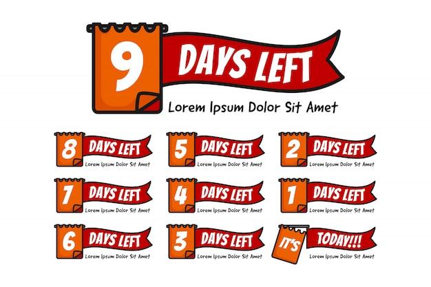 Número de días restantes con la ilustración de nota o fecha establecida desde el número 9 hasta 0 o hoy Vector Premium