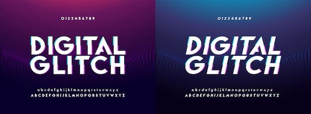 Número y fuente del alfabeto digital glitch abstracto Vector Premium
