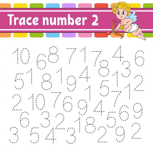 Número de seguimiento práctica de escritura a mano. aprendizaje de números para niños. hoja de trabajo de desarrollo educativo. Vector Premium
