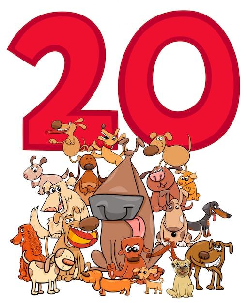 Numero Veinte Y Grupo De Perros De Dibujos Animados Vector Premium