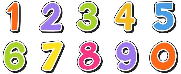 Los números del uno al cero en blanco | Vector Premium