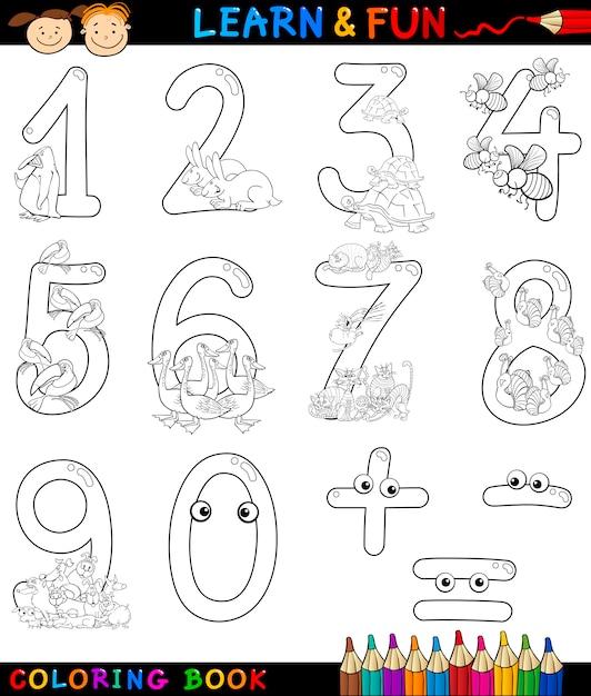 Números Con Animales De Dibujos Animados Para Colorear Descargar