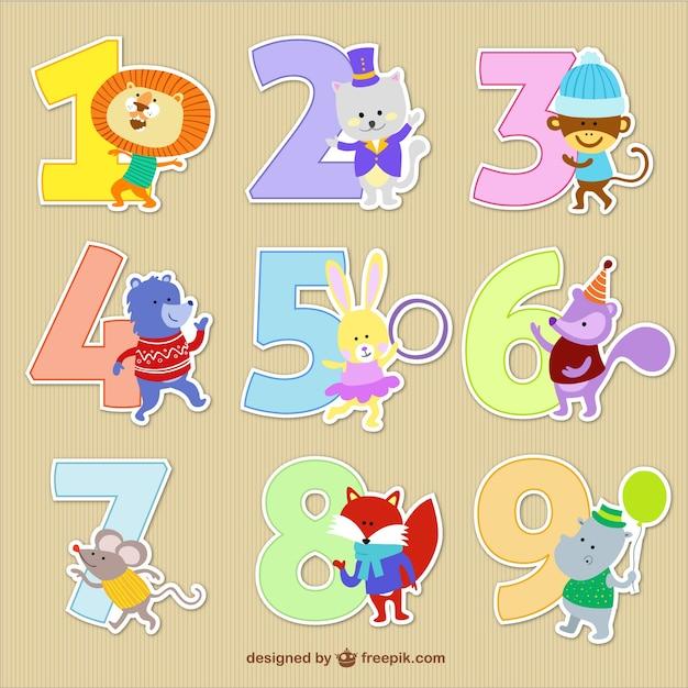 Números con dibujos animados de animales  Descargar ...