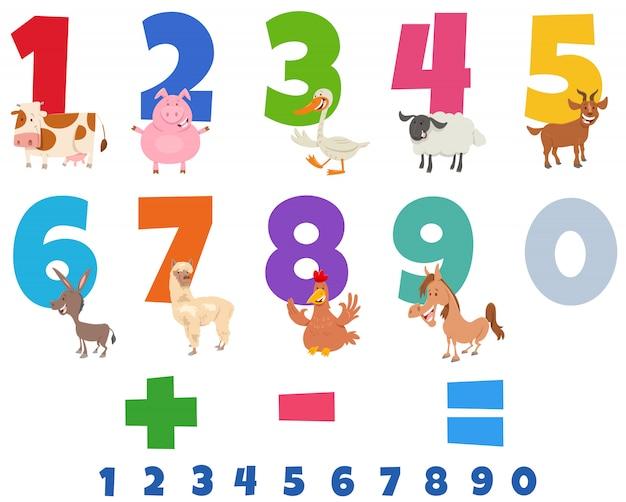 Números educativos con divertidos animales de granja Vector Premium