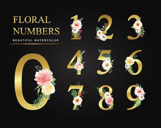 Números de flores de acuarela colección de oro. Vector Premium