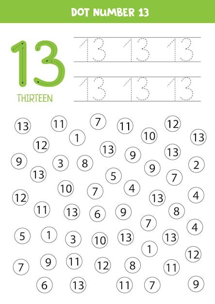 Números de puntos. número trece. juego educativo de matemáticas para niños. Vector Premium